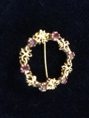 Amethyst and Gold Brooch