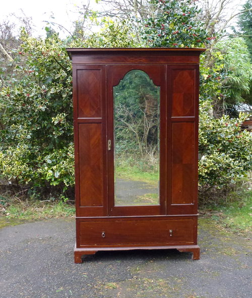 Edwardian Mahogany Inlaid Double Wardrobe