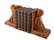 Oak  Mahogany Cherub Bookends