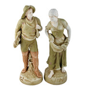 Pair of Amphora Fishing Figure