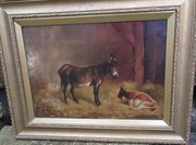 19C oil on canvas Donkey in a