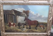 19th C oil on Canvas Horse Cow