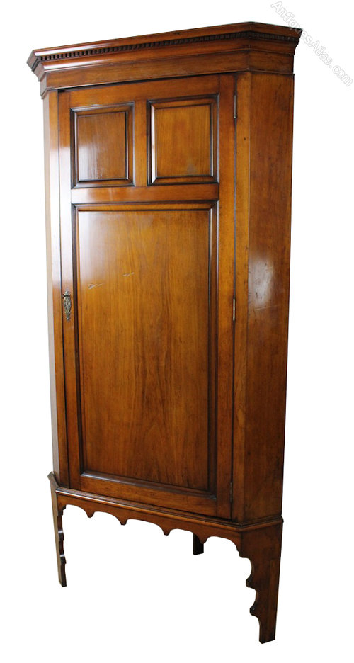Shoolbred Walnut Tall Corner Cabinet Cupboard Antiques Atlas