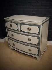Bow Fronted Painted Chest of D