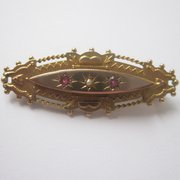 Ruby And Pearl Victorian Brooc