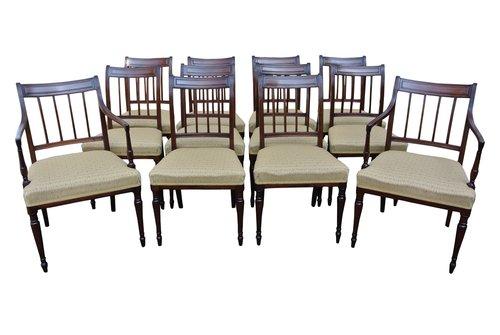 12 Sheraton Mahogany Dining Chairs