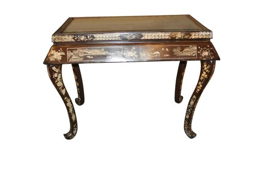 19th c Japanned Mirror Top Console Table