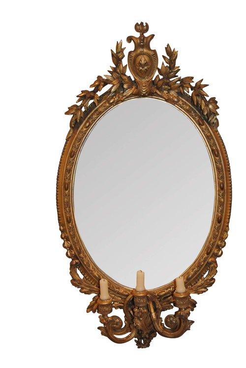 Antique Giltwood Girandole Mirror