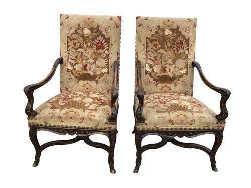 Antique Pair Of French Open Armchairs