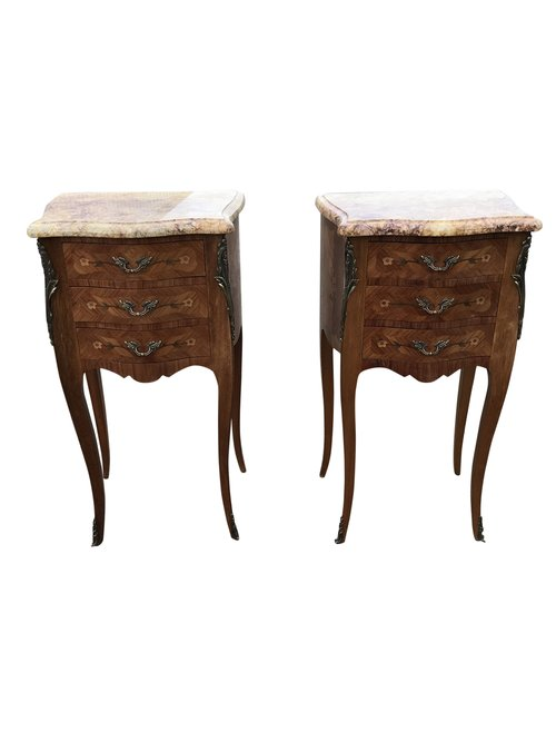 Antique Pair Of Marble Top Bedside Tables