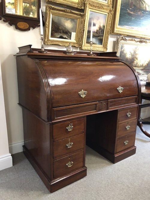 Large 19th Century Mahogany Cylinder Desk