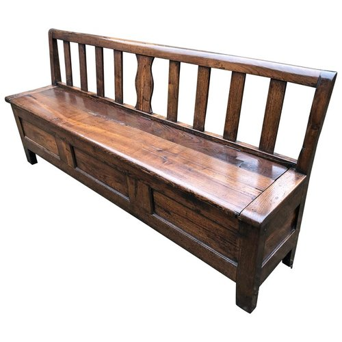 Large Antique French Chestnut Bench