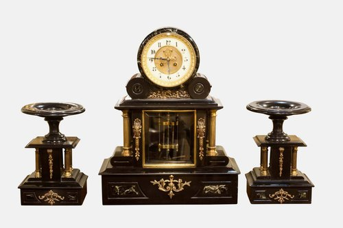 Marble & Slate French Clock Garniture
