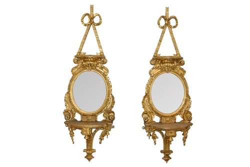 Pair Of Antique Gilt Mirror Sconces