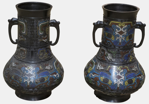 Pair Of Oriental Cloisonne Vases