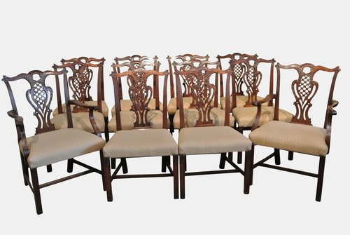 Set Of 12 Fine 19th c. Chippendale Dining Chairs