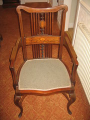 Edwardian inlaid arm chair