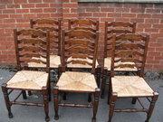 Set of six oak finish ladder b