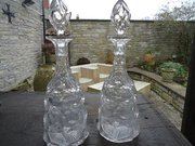 Pair of Victorian cut glass de