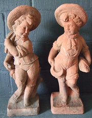 Pair of terracotta statues