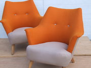 Pair 1950s lounge chairs