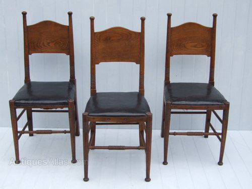 Three Oak William Birch Arts & Crafts Chairs - Antiques Atlas