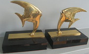 Pair French bronze art deco an