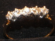 1920s 18ct  5 Diamond Gold Rin