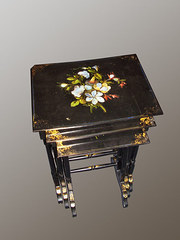 Inlaid ebonised nest of tables