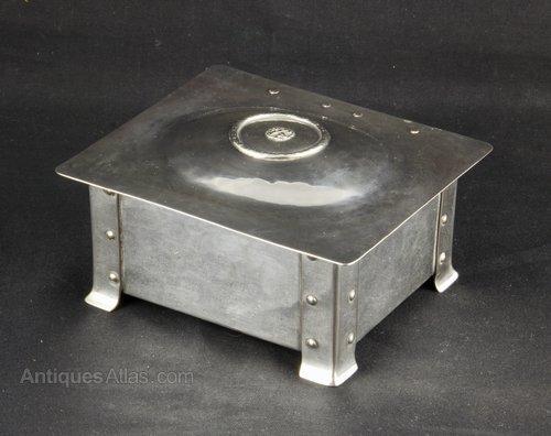 A E Jones Arts Crafts Silver and Plate Box c1910