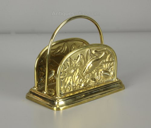Aesthetic Movement Brass Letter Rack c1890
