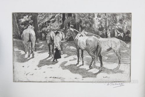 Algernon Talmage Etching Horses The Old Favourite