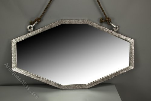 Art Deco Planished Steel Wall Mirror circa 1928