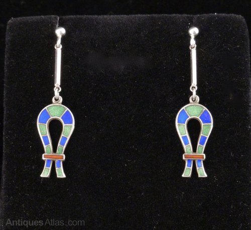 Art Deco Silver and Enamel Ankh Earrings c1925