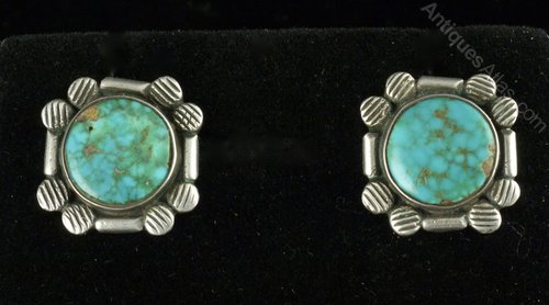 Art Deco Silver and Turquoise Earrings circa 1925