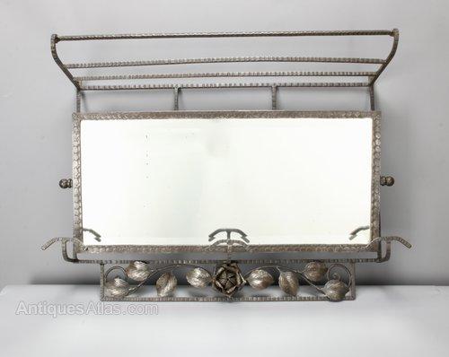 Art Deco Steel Hall Mirror Hat Coat Stand