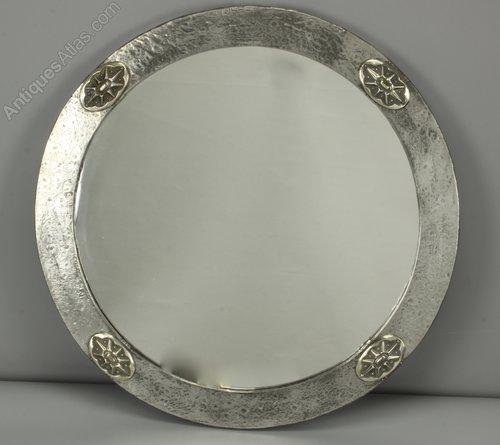 Art Nouveau Circular Pewter Wall Mirror circa 1910