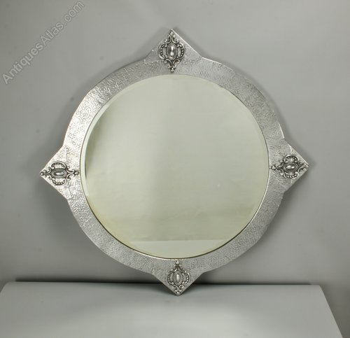 Art Nouveau Circular Silvered Wall Mirror c1910