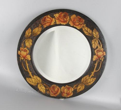 Art Nouveau Glasgow School Poker Work Mirror c1920