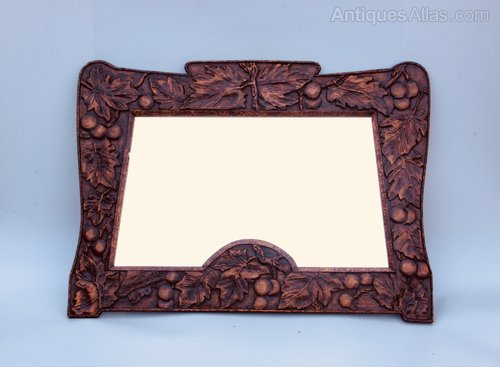 Art Nouveau Mirror Hand Carved With Fruit c1945