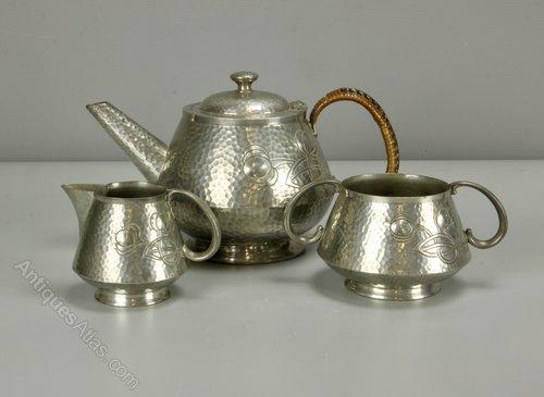 Art Nouveau Pewter Tea Set, c1925