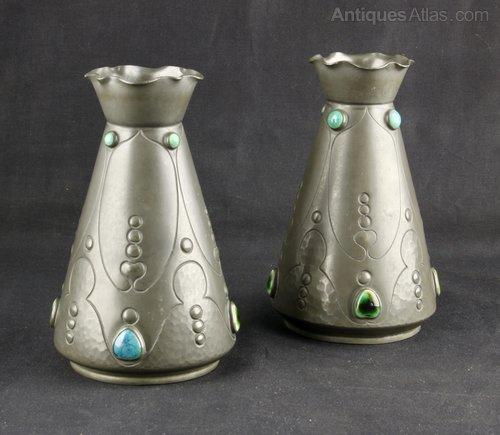 Art Nouveau Pewter & Ruskin Vases J Dixon c1920