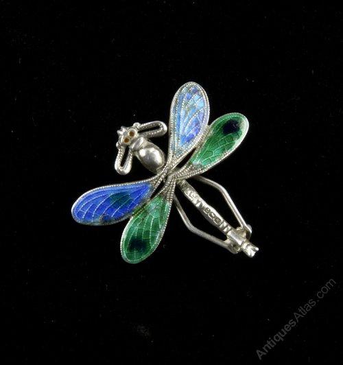 Art Nouveau Silver Enamel Dragonfly Brooch 1909