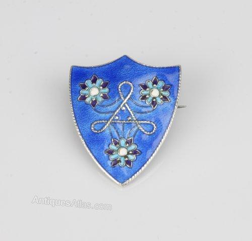 Art Nouveau Silver Enamel Shield Brooch c1925