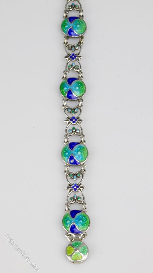 Art Nouveau Silver & Enamel Bracelet c1910