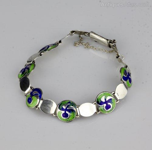 Art Nouveau Silver & Enamel Bracelet B'ham 1911