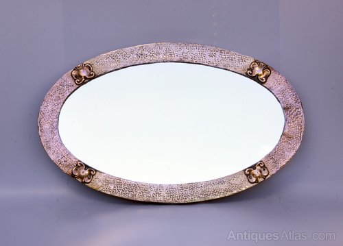 Arts Crafts Oval Copper Brass Wall Mirror c1920