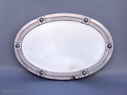 Arts Crafts Oval Silvered Brass Wall Mirror c1920