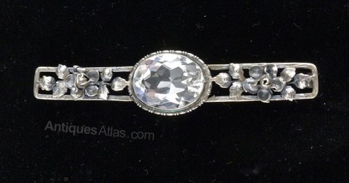 Arts & Craft Silver and Rock Crystal Brooch c1920