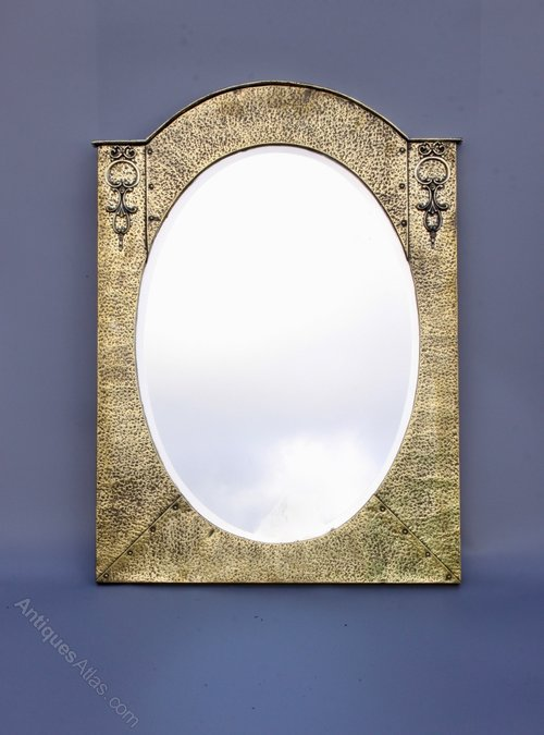 Arts & Crafts Brass Arched Wall Mirror circa 1910